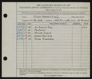 Entry card for Craig, Oliver Newell for the 1938 May Show.