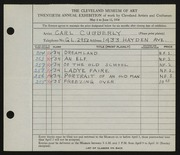 Entry card for Cubberly, Carl for the 1938 May Show.