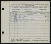 Entry card for Cykowski, Clement Allen for the 1938 May Show.