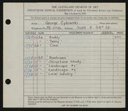 Entry card for Cykowski, George C. for the 1938 May Show.