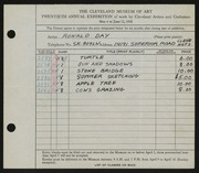 Entry card for Day, Ronald Nelson for the 1938 May Show.