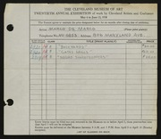Entry card for De Marco, Marco for the 1938 May Show.