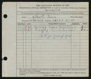 Entry card for Dome, Gilbert for the 1938 May Show.