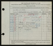 Entry card for Dyer, Nora E. for the 1938 May Show.