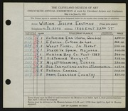 Entry card for Eastman, William Joseph for the 1938 May Show.