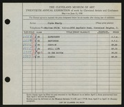 Entry card for Eberly, Clyde for the 1938 May Show.