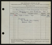 Entry card for Eells, James, and B. L. Marble Chair Co.; Schreckengost, Viktor for the 1938 May Show.