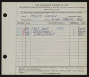 Entry card for Ersek, Joseph Francis for the 1938 May Show.
