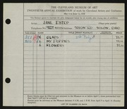 Entry card for Estep, Jane for the 1938 May Show.