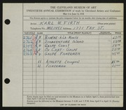 Entry card for Firth, Karl Warren for the 1938 May Show.