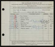 Entry card for Fousek, Frank Daniel for the 1938 May Show.