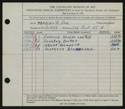 Entry card for Fox, Thomas F. for the 1938 May Show.