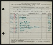Entry card for Winter, Thelma Frazier for the 1938 May Show.