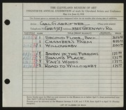 Entry card for Gaertner, Carl Frederick for the 1938 May Show.