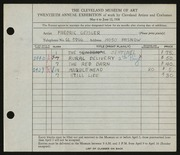 Entry card for Geisler, Frederic William for the 1938 May Show.