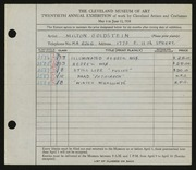 Entry card for Goldstein, Milton for the 1938 May Show.