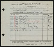 Entry card for Gould, Sybil Josephine for the 1938 May Show.