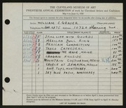 Entry card for Grauer, William C. for the 1938 May Show.
