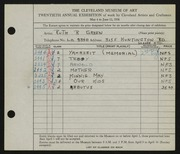 Entry card for Green, Ruth R. for the 1938 May Show.