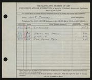 Entry card for Gregory, John E. for the 1938 May Show.