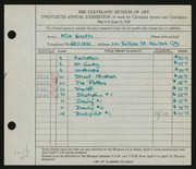 Entry card for Groth, Milt for the 1938 May Show.