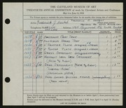 Entry card for Harbst, Frederick J. for the 1938 May Show.