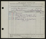 Entry card for Hartman, John B. for the 1938 May Show.