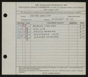 Entry card for Herczegh, Zoltan for the 1938 May Show.