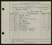 Entry card for Hewit, Mabel A. for the 1938 May Show.