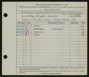 Entry card for Holden, Cora for the 1938 May Show.