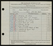 Entry card for Hufnagel, John for the 1938 May Show.