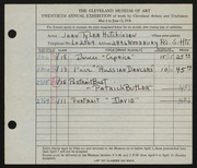 Entry card for Tyler, Jean for the 1938 May Show.