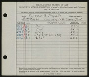 Entry card for Ingalls, Eileen B. for the 1938 May Show.