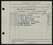 Entry card for Janashak, Martin F. for the 1938 May Show.