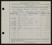 Entry card for Jeffery, Charles Bartley for the 1938 May Show.