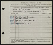 Entry card for Jenness, E. H. for the 1938 May Show.