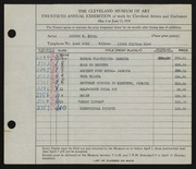 Entry card for Jicha, Joseph W. for the 1938 May Show.