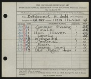 Entry card for Judd, DeForrest H. for the 1938 May Show.