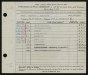 Entry card for Kastriner, Charles L. for the 1938 May Show.
