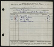 Entry card for Kenyon, Martha E. for the 1938 May Show.
