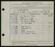 Entry card for Landesman, Geoffrey for the 1938 May Show.