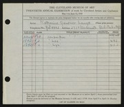 Entry card for Lange, Katharine Gruener for the 1938 May Show.