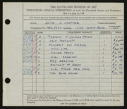 Entry card for Lawrence, Alice Lauffer for the 1938 May Show.