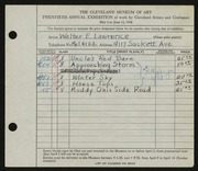 Entry card for Lawrence, Walter E. for the 1938 May Show.