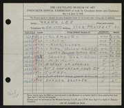 Entry card for Lee, Frank for the 1938 May Show.