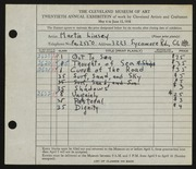 Entry card for Linsey, Martin  for the 1938 May Show.