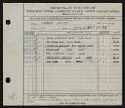 Entry card for Lippay, Frank for the 1938 May Show.