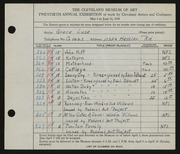 Entry card for Luse, Grace, and Eckhard, Edris for the 1938 May Show.