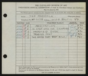 Entry card for Maddock, Ted for the 1938 May Show.