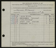 Entry card for McDermott, Bernard for the 1938 May Show.